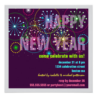 Fireworks Celebration for New Years Eve Party Custom Invitation