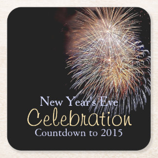 Fireworks Celebration New Year's Eve Coasters Square Paper Coaster