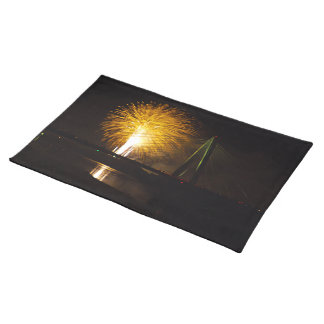 Fireworks Christopher S. Bond Bridge Kansas City 2 Cloth Placemat