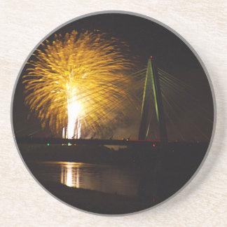 Fireworks Christopher S. Bond Bridge Kansas City 2 Drink Coaster