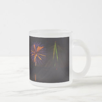 Fireworks Christopher S. Bond Bridge Kansas City 3 Frosted Glass Coffee Mug
