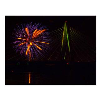 Fireworks Christopher S. Bond Bridge Kansas City 3 Postcard