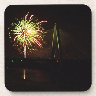 Fireworks Christopher S. Bond Bridge Kansas City 4 Drink Coaster
