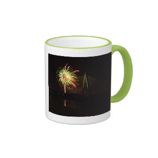 Fireworks Christopher S. Bond Bridge Kansas City 4 Ringer Mug