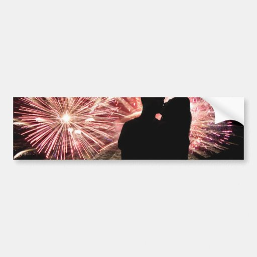 Fireworks Couple Kissing Silhouette Bumper Sticker