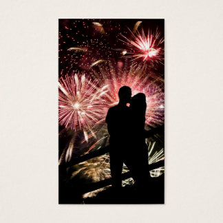 Fireworks Couple Kissing Silhouette Business Card
