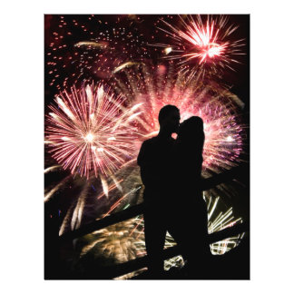 Fireworks Couple Kissing Silhouette Flyer