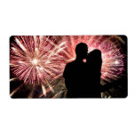 Fireworks Couple Kissing Silhouette Shipping Labels