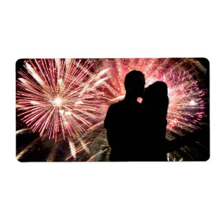 Fireworks Couple Kissing Silhouette Label