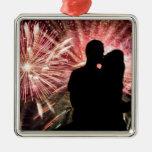 Fireworks Couple Kissing Silhouette Christmas Tree Ornament