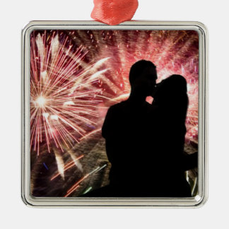 Fireworks Couple Kissing Silhouette Square Metal Christmas Ornament