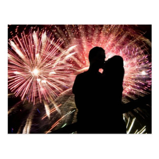 Fireworks Couple Kissing Silhouette Postcard