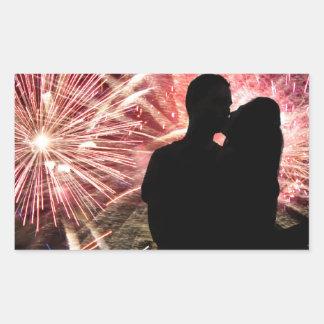 Fireworks Couple Kissing Silhouette Rectangular Sticker