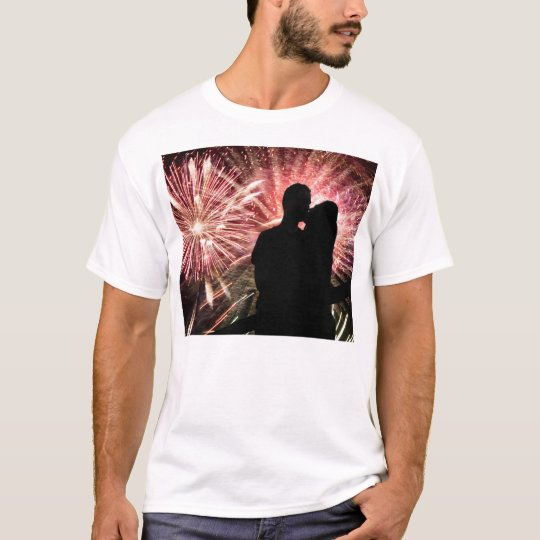 Fireworks Couple Kissing Silhouette T-Shirt