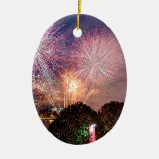 Fireworks del señor el alcalde, Southbank Londres Adorno Navideño Ovalado De Cerámica