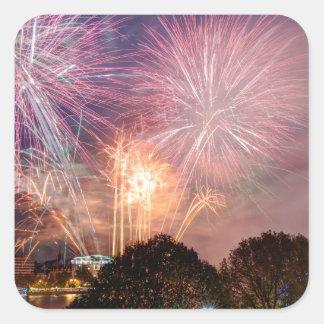 Fireworks del señor el alcalde, Southbank Londres Pegatina Cuadrada