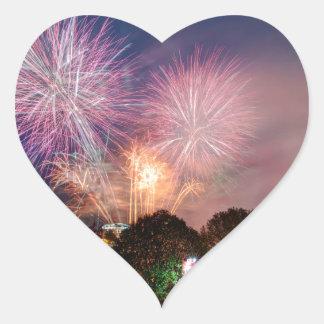 Fireworks del señor el alcalde, Southbank Londres Pegatina En Forma De Corazón