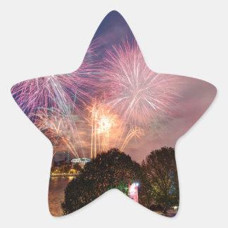 Fireworks del señor el alcalde, Southbank Londres Pegatina En Forma De Estrella