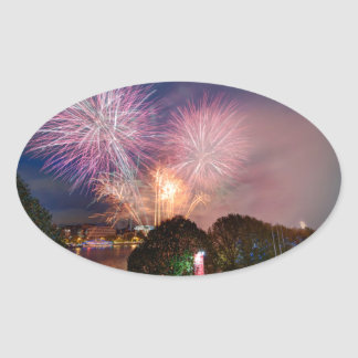 Fireworks del señor el alcalde, Southbank Londres Pegatina Ovalada