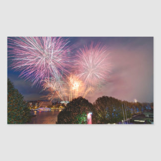 Fireworks del señor el alcalde, Southbank Londres Pegatina Rectangular