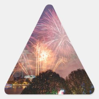 Fireworks del señor el alcalde, Southbank Londres Pegatina Triangular