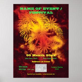 Fireworks display advertising poster, print