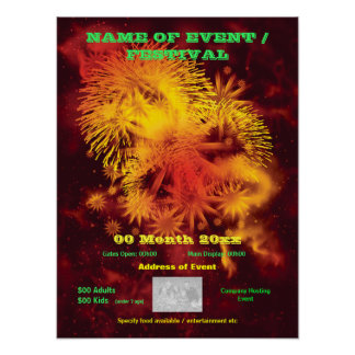 Fireworks display advertising SMALL poster, print
