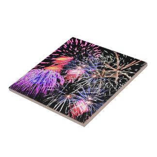 Fireworks Display Ceramic Tile