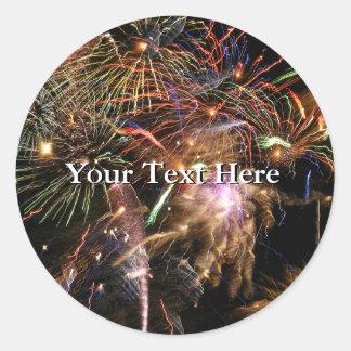 Fireworks Display Classic Round Sticker