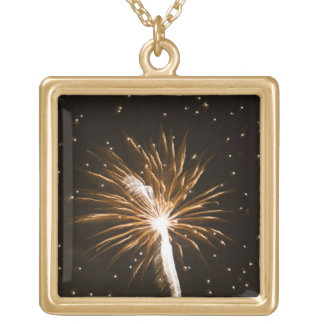 Fireworks display on Savannah River Gold Plated Necklace