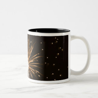 Fireworks display on Savannah River Two-Tone Coffee Mug