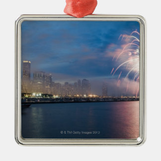 Fireworks display over the Chicago lakefront at Metal Ornament