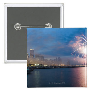 Fireworks display over the Chicago lakefront at Pinback Button