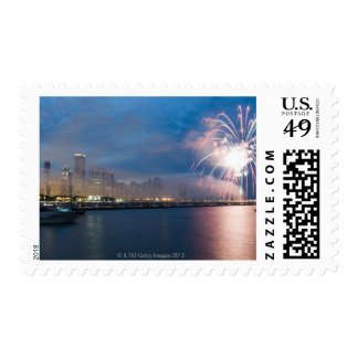 Fireworks display over the Chicago lakefront at Postage