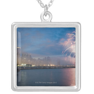 Fireworks display over the Chicago lakefront at Silver Plated Necklace