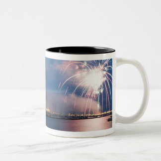 Fireworks display over the Chicago lakefront at Two-Tone Coffee Mug