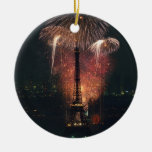 Fireworks, Eiffel Tower, Paris, France Double-Sided Ceramic Round Christmas Ornament