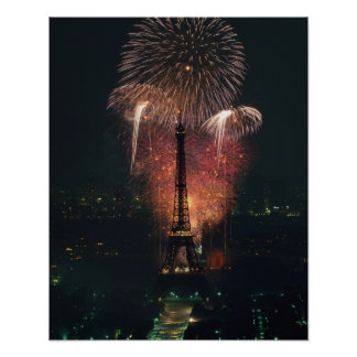 Fireworks, Eiffel Tower, Paris, France Poster