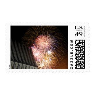 Fireworks explode postage