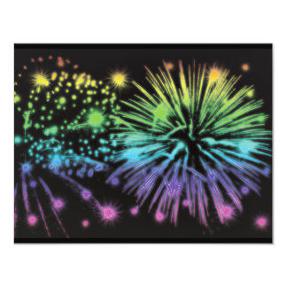 Fireworks exploding festive personalized 4.25x5.5 paper invitation card