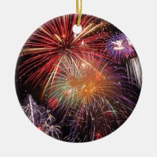 Fireworks Finale Ceramic Ornament