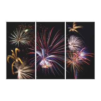 Fireworks Finale Triptych Wall Art Canvas Print