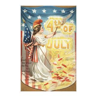 Fireworks Firecracker Lady Liberty US Flag Canvas Print