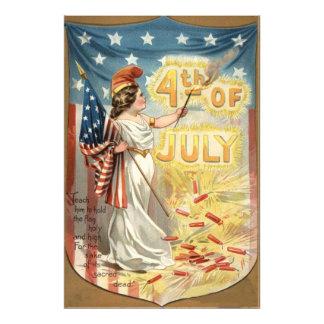Fireworks Firecracker Lady Liberty US Flag Photo Print