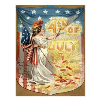Fireworks Firecracker Lady Liberty US Flag Postcard