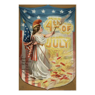 Fireworks Firecracker Lady Liberty US Flag Posters