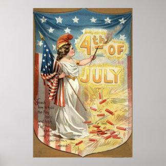 Fireworks Firecracker Lady Liberty US Flag Poster