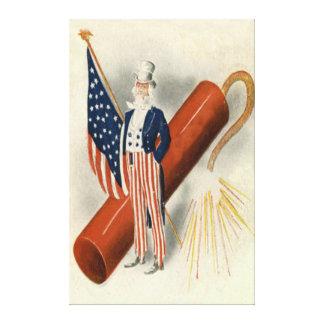 Fireworks Firecracker Uncle Sam US Flag Canvas Print