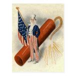 Fireworks Firecracker Uncle Sam US Flag Post Cards
