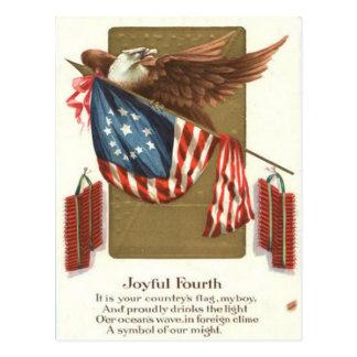 Fireworks Firecracker US Flag Bald Eagle Postcard